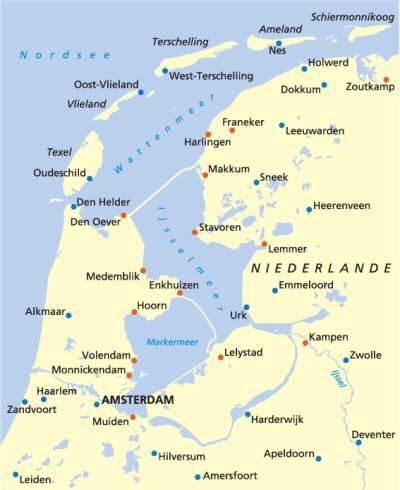Niederlande Ijsselmeer Karte.Holland Wochenende Karte